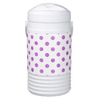 Elegant Purple Glitter Polka Dots Pattern Drinks Cooler