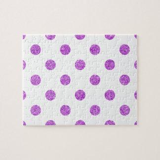 Elegant Purple Glitter Polka Dots Pattern Jigsaw Puzzle