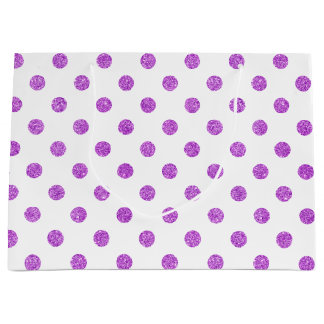 Elegant Purple Glitter Polka Dots Pattern Large Gift Bag