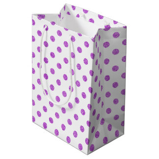Elegant Purple Glitter Polka Dots Pattern Medium Gift Bag