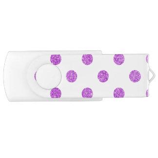 Elegant Purple Glitter Polka Dots Pattern Swivel USB 2.0 Flash Drive