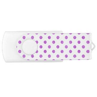 Elegant Purple Glitter Polka Dots Pattern Swivel USB 3.0 Flash Drive