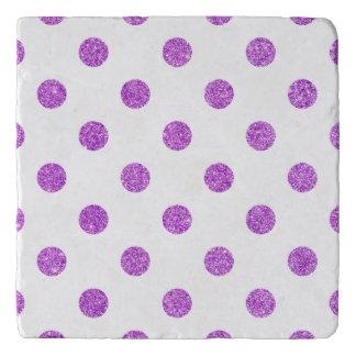 Elegant Purple Glitter Polka Dots Pattern Trivet