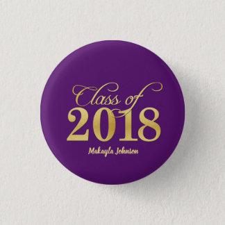 Elegant Purple & Gold Class of 2018 Graduation 1 Inch Round Button
