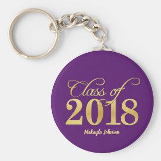 Elegant Purple & Gold Class of 2018 Graduation Keychain