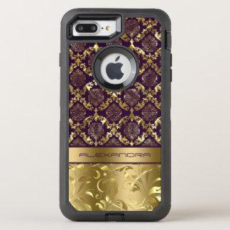 Elegant Purple & Gold Dalasks Metallic Texture OtterBox Defender iPhone 8 Plus/7 Plus Case