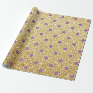 elegant purple gold glitter polka dots