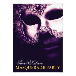 Elegant Purple Gold Sweet 16 Masquerade Invitation