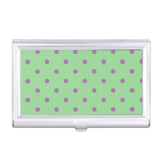 elegant purple green polka dots business card cases