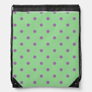 elegant purple green polka dots drawstring bag