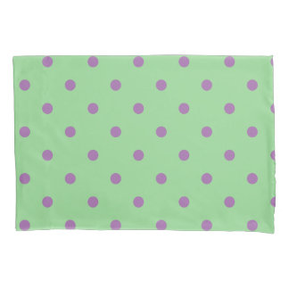 elegant purple green polka dots pillowcase