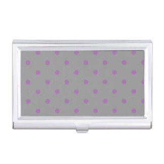 elegant purple grey polka dots business card cases