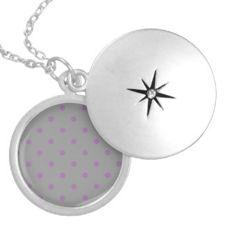 elegant purple grey polka dots locket necklace