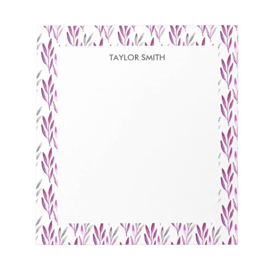 Elegant Purple Lavender Watercolor Personalized Notepad