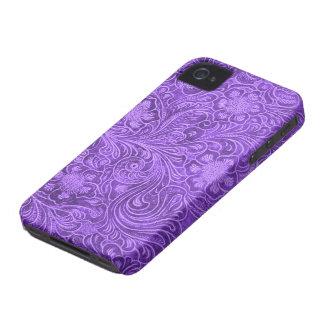 Elegant Purple Leather Look Embossed Flowers iPhone 4 Case