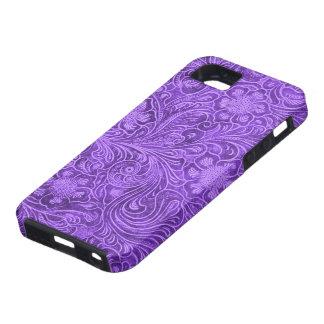 Elegant Purple Leather Look Floral Embossed Design iPhone 5 Cases