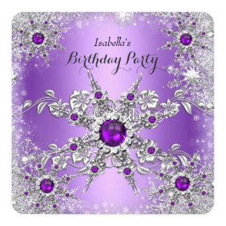 "Elegant Purple Lilac Snowflake Birthday Party 5.25"" Square Invitation Card"
