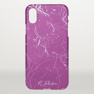 Elegant Purple Marble Personalized iPhone X Case