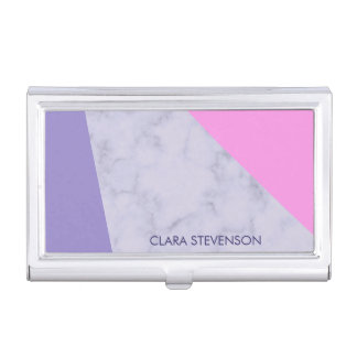 elegant purple marble pink purple color block business card holder