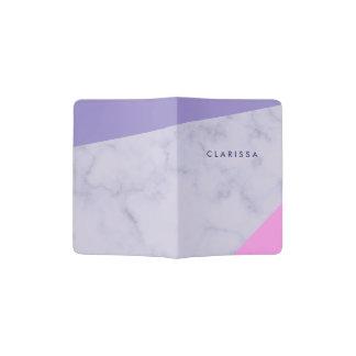 elegant purple marble pink purple color block passport holder