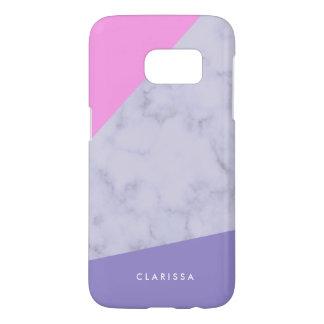 elegant purple marble pink purple color block samsung galaxy s7 case