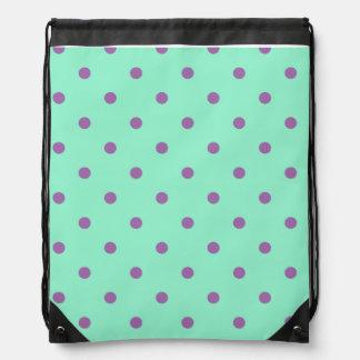 elegant purple mint polka dots drawstring bag