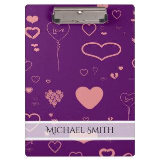 Elegant Purple Modern Heart Pattern #2 Clipboard