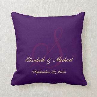 Elegant Purple Monogram Bride Groom Wedding Pillow