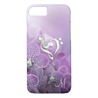 Elegant Purple Music Clef Heart iPhone 7 Case