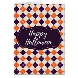 Elegant Purple Orange Argyle Happy Halloween Card