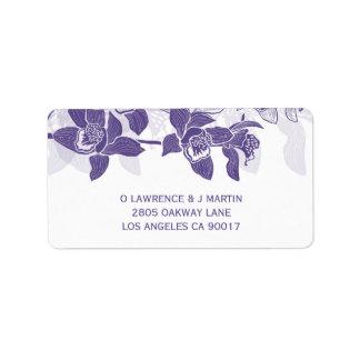 Elegant Purple Orchids Floral Label