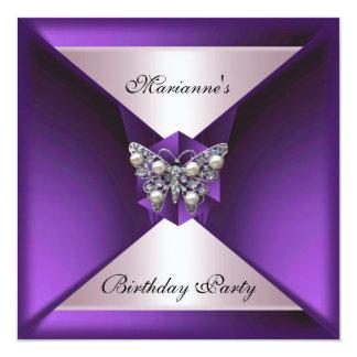 Elegant Purple Pearl Jewel Birthday Silver & White Card