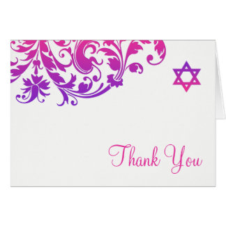 Elegant Purple Pink Flourish Bat Mitzvah Thank You Card
