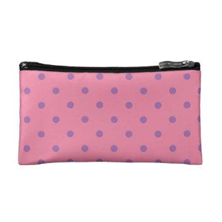 elegant purple pink polka dots cosmetic bag