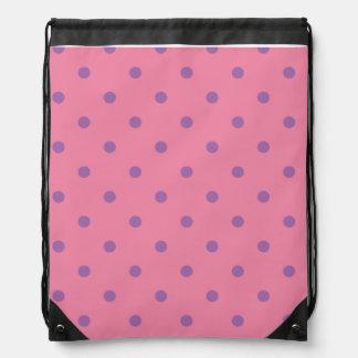 elegant purple pink polka dots drawstring bag