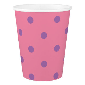 elegant purple pink polka dots paper cup