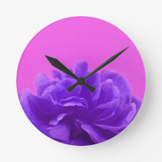 Elegant Purple Raspberry Floral Round Clock