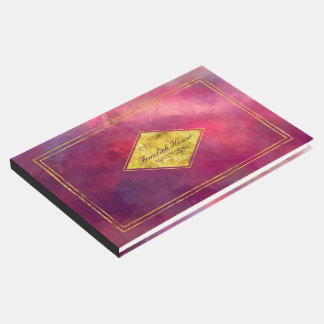 Elegant Purple Red Abstract with Faux Gold Accents Guest Book