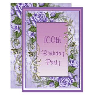 Elegant Purple Rose Framed 100th Birthday Card