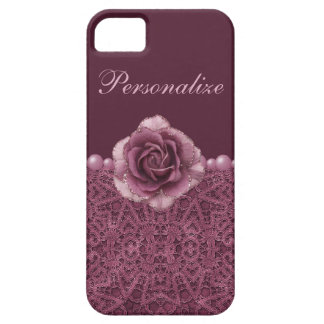 Elegant Purple Rose, Lace & Pearls iPhone 5 Cover