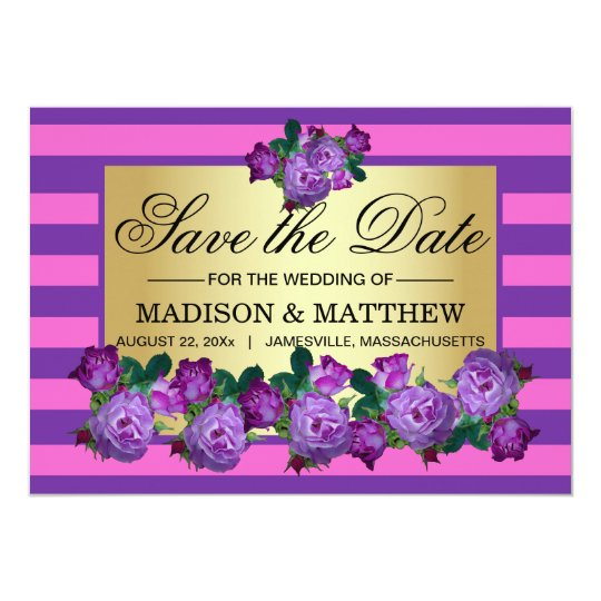 Elegant Purple Roses & Stripes Save the Date Card