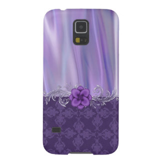 Elegant Purple Satin and Damask Samsung Galaxy S5 Galaxy S5 Case
