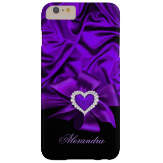 Elegant Purple Silk Look Black Heart Jewel Barely There iPhone 6 Plus Case