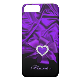 Elegant Purple Silk Look Black Heart Jewel iPhone 8 Plus/7 Plus Case