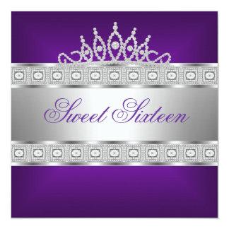Elegant Purple Silver Jewel 16th Birthday Card