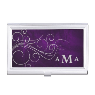 Elegant Purple Silver Swirl Monogram Business Card Holder