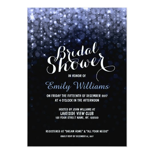 Elegant purple string lights bokeh bridal shower card