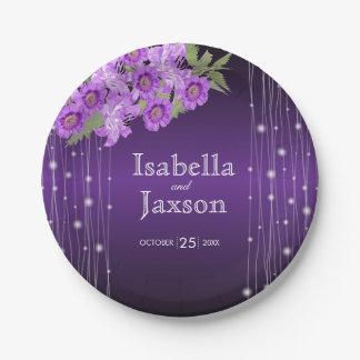 Elegant Purple String Lights Floral Wedding Paper Plate