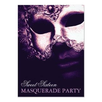 "Elegant Purple Sweet 16 Masquerade Party Invites 4.5"" X 6.25"" Invitation Card"