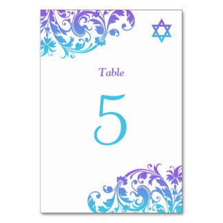 Elegant Purple Teal Flourish Bat Mitzvah Table Cards